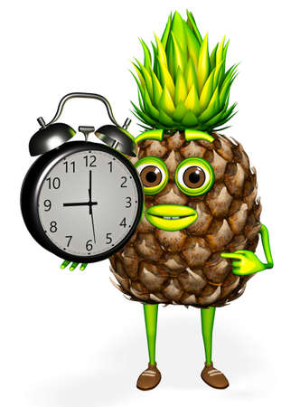 Pineapple Character Shows Clock White background 3D Render