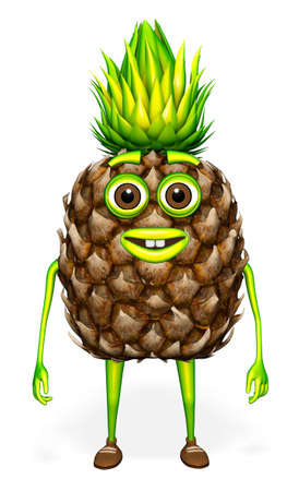 Pineapple 3d Character Cartoon White background 3D Render
