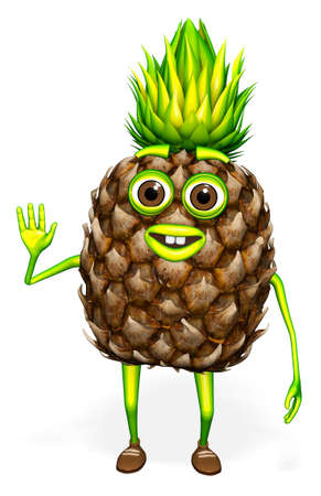 Pineapple Hello Character White background 3D Render
