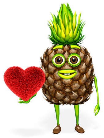 Pineapple Character Shows Heart White background 3d Render