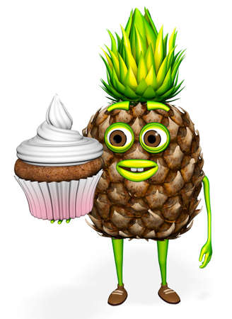 Pineapple Shows Cupcake White background 3d Render
