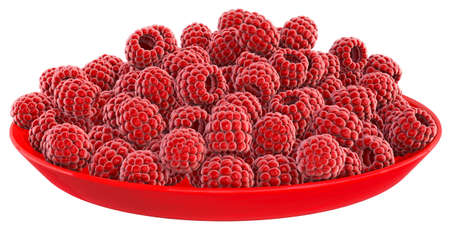Raspberry In plate White background 3D Render