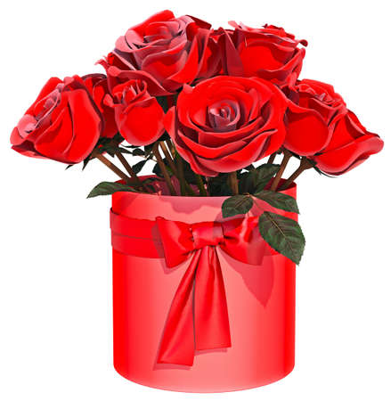 Red Roses Bouquet White background 3D Render