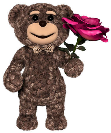 Teddy Bear with Flower Greeting White background 3D Render