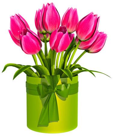 Tulip Bouquet White Background 3D Render