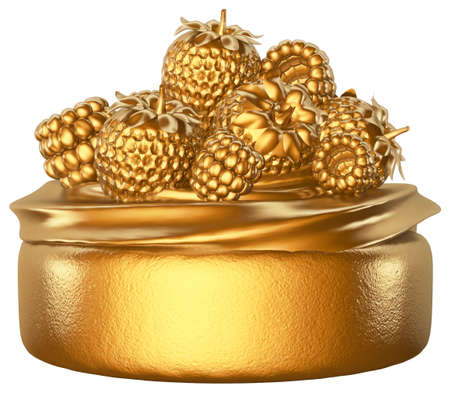 Cupcake Fruits Golden White background 3D rendering