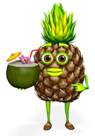 Pineapple Shows Coconut White background 3D rendering