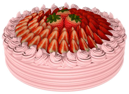 Strawberry Cake White background 3D Rendering