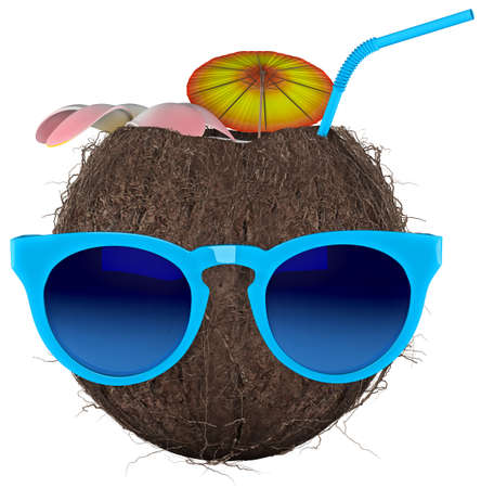 Tropical Coconut Nut White background 3D rendering Stok Fotoğraf