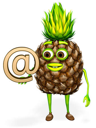 Pineapple Shows Email White background 3D rendering Stok Fotoğraf