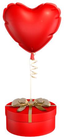 Gift Balloon Heart White background 3D rendering