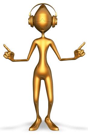 Golden Man Headphones Dance 3D Rendering Stok Fotoğraf