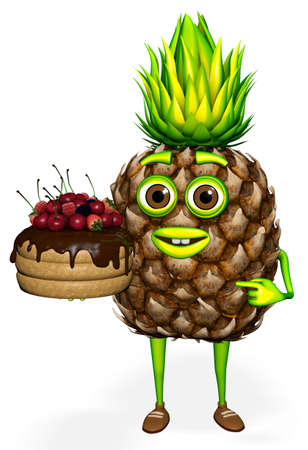 Pineapple Shows Cake White background 3D Rendering