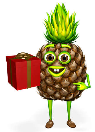 Pineapple Shows Gift White background 3D Rendering