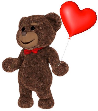 Teddy Bear Holds Heart White background 3D Rendering Stok Fotoğraf