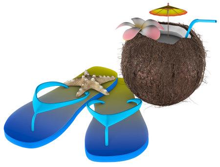 Tropical Coconut Nut Beach White background 3D Rendering Stok Fotoğraf