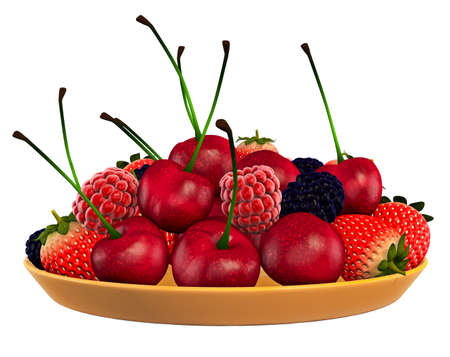 Fruits White background 3D Rendering