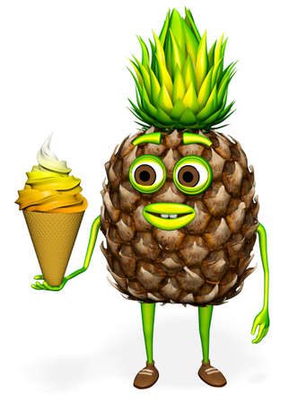 Pineapple Shows Ice Cream White background 3D Rendering