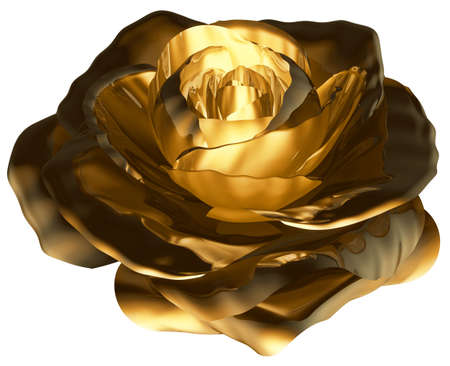 Rose Bud Golden White background 3D Rendering
