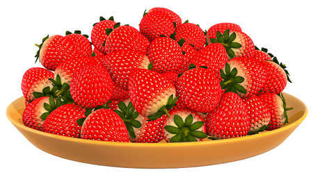 Fruits Strawberry White background 3D Rendering