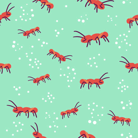Cute seamless pattern of ant colony and sugar sprinkle on green background. Flat digital vector illustration Stockfoto - 168144526
