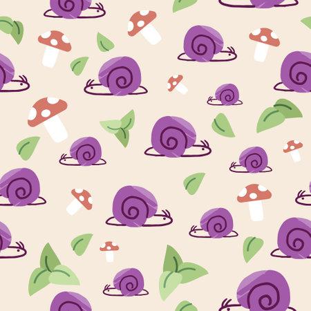 Nature seamless pattern with snail, leaves, and mushroom on light orange background. Flat digital vector illustration