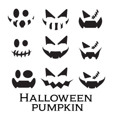 Scary and funny faces of Halloween pumpkin or ghost set on white background . Vector collection.