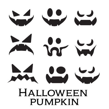 Scary and funny faces of Halloween pumpkin or ghost set on white background . Vector collection. Vetores