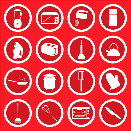 coocing: 16 vector icons of common household and kitchen items