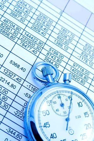 스프레드 시트: Spreadsheet and Stopwatch in bluish light