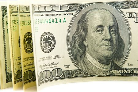 bankroll: Unrolled roll of cash. Stock Photo