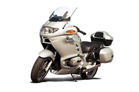 motorised: Vista frontal de motocicleta aislado en un fondo blanco