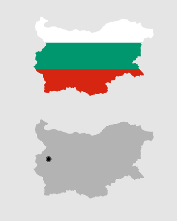 Contour of Bulgaria in grey and in flag colors