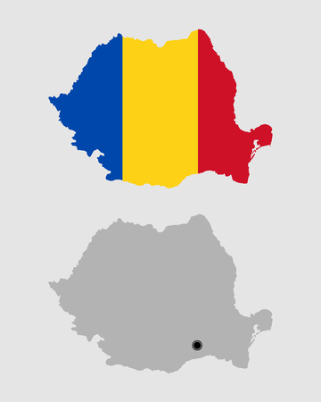 Contour of Romania in grey and in flag colors