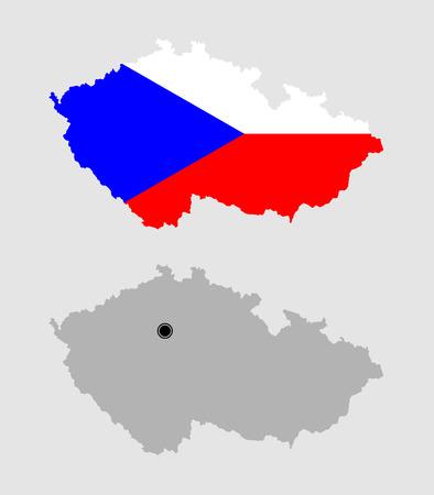 Contour of Czech Republic in grey and in flag colors Ilustração