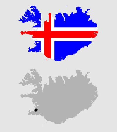 Contour of Iceland in grey and in flag colors Illustration