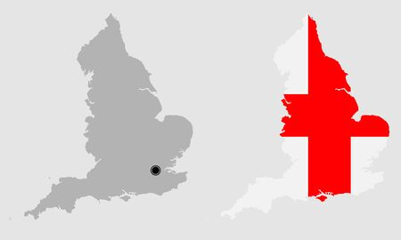 Contour of England in grey and in flag colors