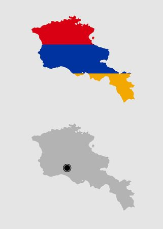 Contour of Armenia in grey and in flag colors