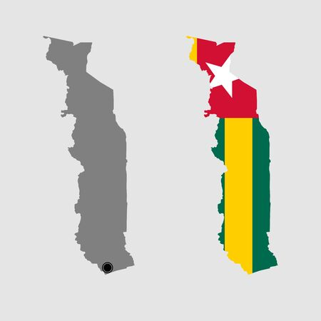 Contour of Togo in grey and in flag colors