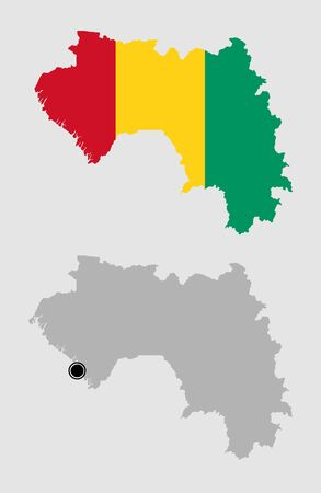 Contour of Guinea in grey and in flag colors