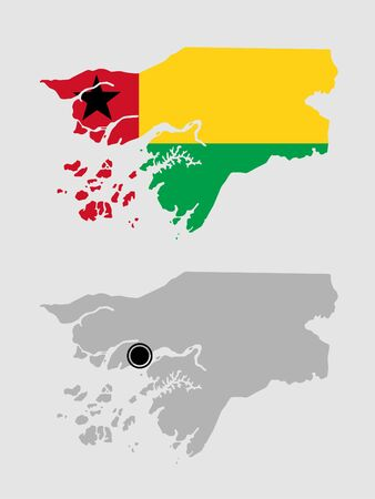 Contour of Guinea Bissau in grey and in flag colors