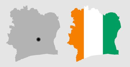 Contour of Ivory coast in grey and in flag colors Иллюстрация