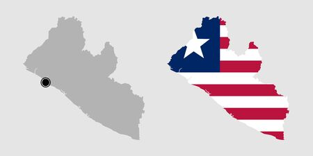 Contour of Liberia in grey and in flag colors