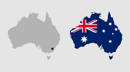 Contour of Australia in grey and in flag colors Illustration