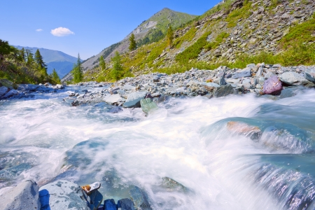 mountain landscape with fast river, Altai, Russia photo