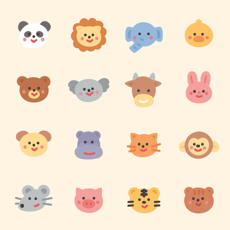 cute animal character face. flat design style minimal vector illustration