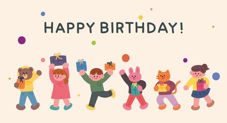 birthday greeting card friends flat design style minimal vector illustration
