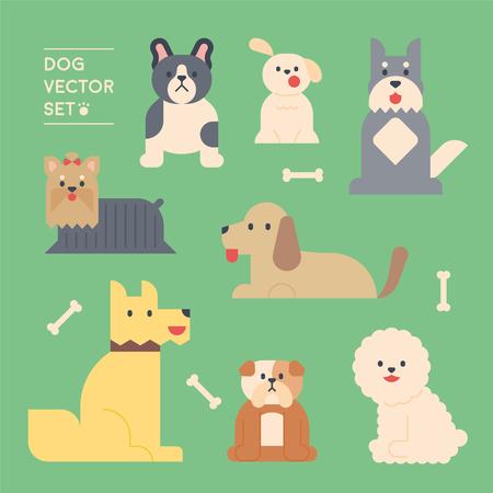 cute dog character various breeds set. flat design style minimal vector illustration Illustration