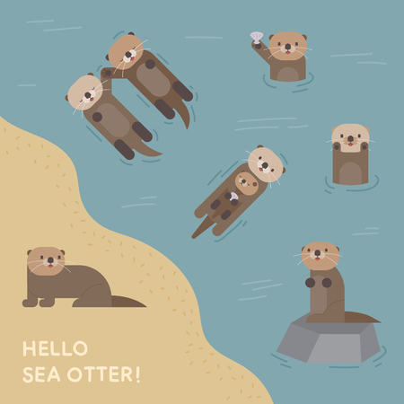 Cute swimming sea otter character flat design style minimal vector illustration Vettoriali