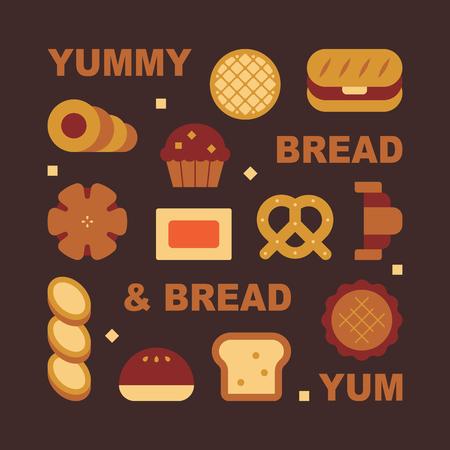 kinds of bread. flat design style minimal